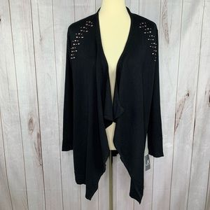 JM Collection Soft Black Embellished Cardigan M